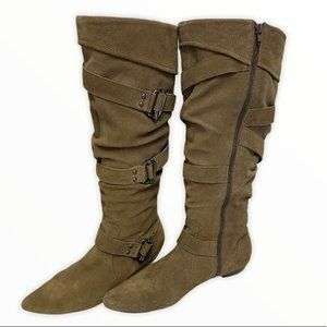 Brown flat Buckle boots with zipper size 40